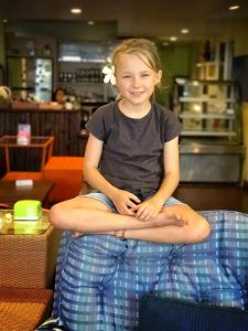 Zoe chilling out in hostel in Chiang Mai