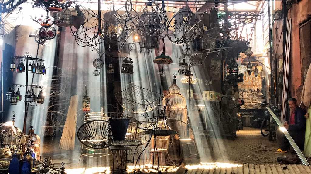 metal souq -beautiful light play in Marrakech best place to visit in Marrakech with kids